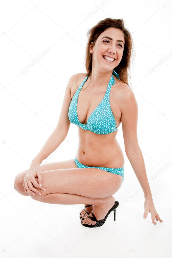 Side pose of smiling sensual model on an isolated white background — Stock Photo #1367778
