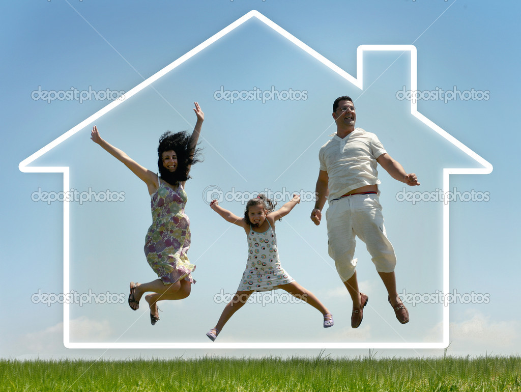 Young family jumping of joy, outdoors — Foto de Stock   #1369478