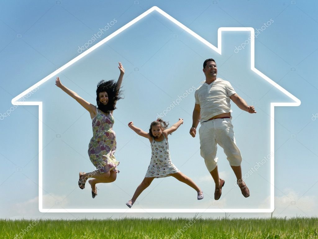 Young family jumping of joy, outdoors  Stock Photo #1369478