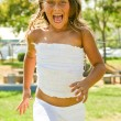 Happy young girl with wide open mouth — Stock Photo #1370048