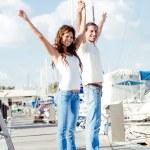 Cheerful young couple enjoying — Stock Photo
