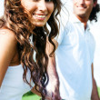 Young female close-up smiling with guy — Stock Photo