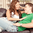 Stock Photo: Preety womflirting with her boyfriend