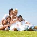 retrato de família feliz de cinco — Foto Stock