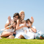 Retrato de familia feliz de cinco — Foto de Stock