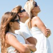 Family of four with goggles — Stockfoto