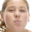 Young girl making pout mouth — Stock Photo