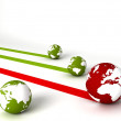 Display of profit and loss globes — Stock Photo