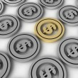 Three dimensional dollar coins — Stockfoto #1372974