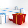 Series of wrapped gifts - Stock Photo
