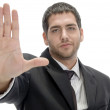 Businessman showing stop gesture — Stock Photo