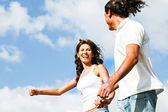 Couple running and having fun — Stock Photo