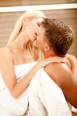 Hot caucasian couple making love — Stock Photo