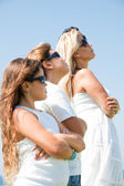 Family of four with goggles — Stock Photo