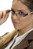 Portrait of young female with eyewear — Stock Photo