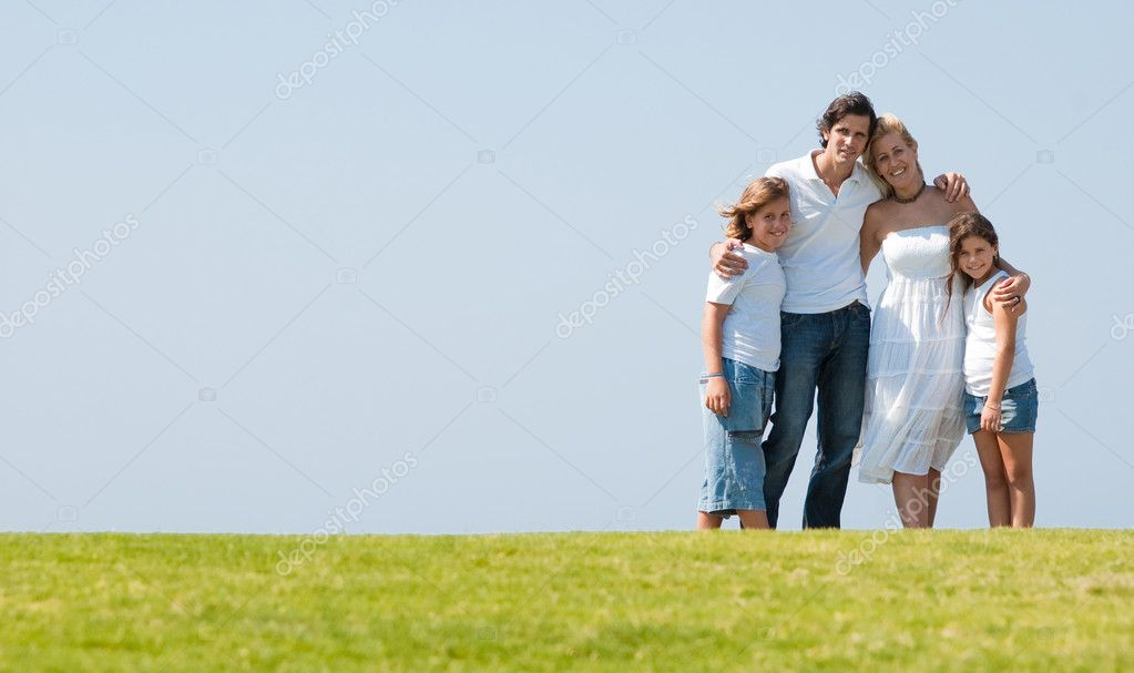 Portrait of happy family of enjoying together on sunny day — Photo #1371547
