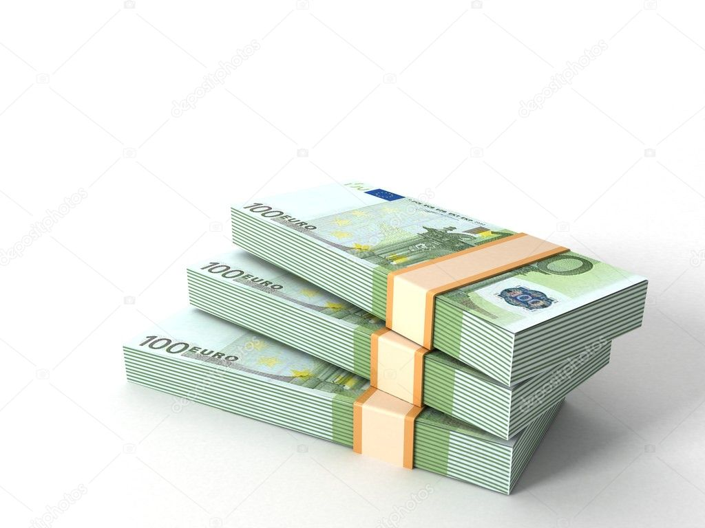 Three dimensional currency bundles stack — Foto Stock #1372504