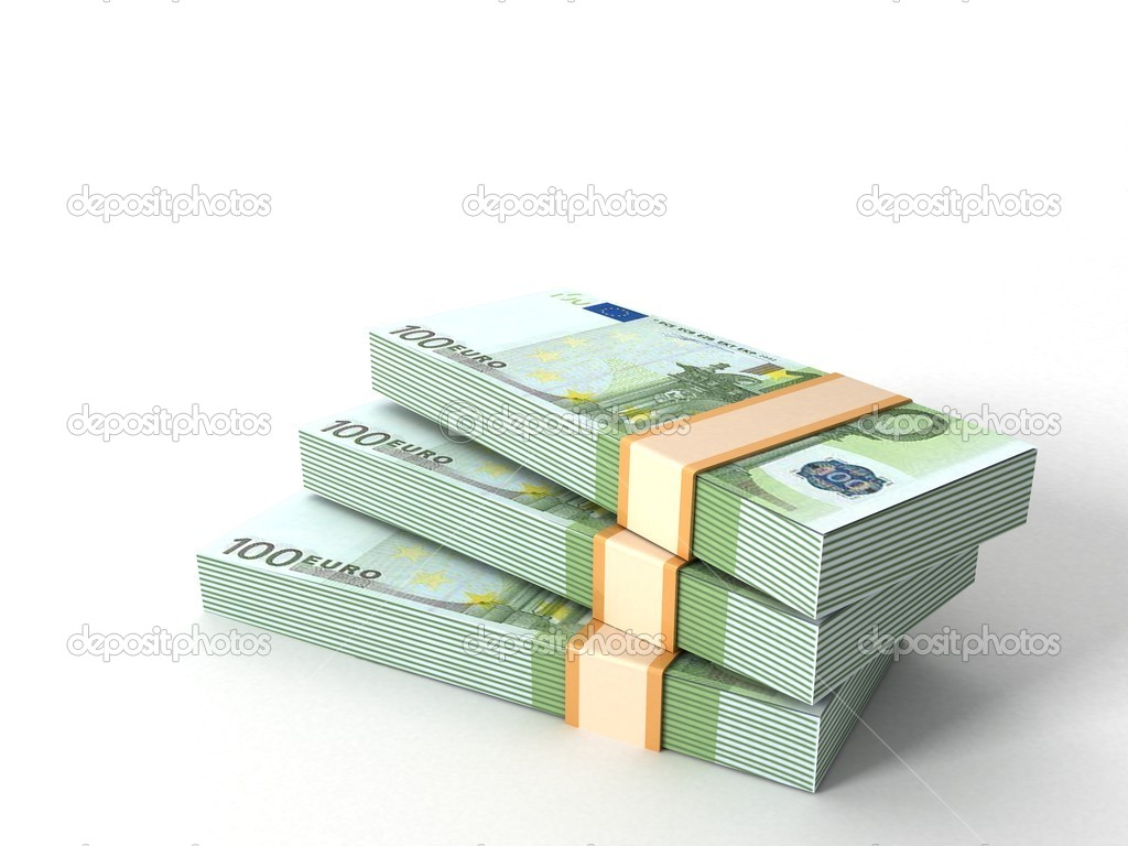 Three dimensional currency bundles stack — Foto de Stock   #1372504