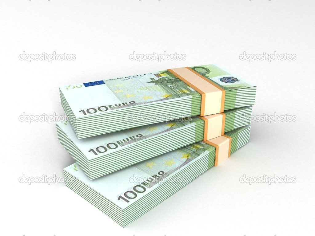 Three dimensional bundles of european currency  Stock Photo #1372511