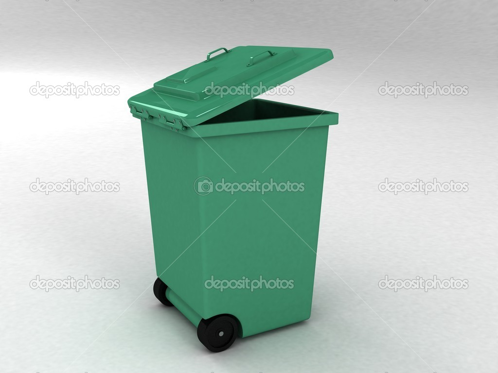 Trash can on white background  Stock Photo #1373128