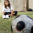 Young boy on grass with soccer ball — Stock Photo