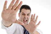 Shouting businessman showing his palms — Stock Photo