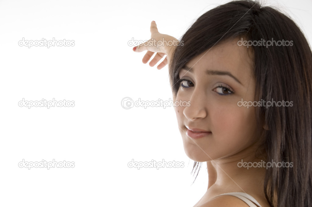 Female pointing on  an isolated white background  — Stock Photo #1649737