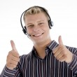 Executive communicating with thumbs up — Stock Photo #1650313