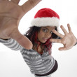 African girl with christmas hat posing — Stock Photo