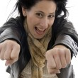Womshowing clenched fists — Stock Photo #1651555