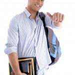 étudiant avec livres et sac à dos — Photo #1652301