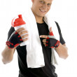 Healthy fit man posing with bottle — Stock Photo #1652528