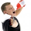 Male taking refreshment with thumbs up — Stock Photo #1652536