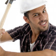 Stock Photo: Architect showing his hammer to camera