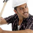 Architect showing his hammer to camera — Stock Photo