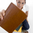 Close up view of teenager with books — Stock Photo #1652821