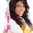 Beautiful woman with toothbrush — Stock Photo