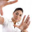 Young woman in directing gesture — Stock Photo