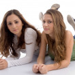 Stock Photo: Beautiful young teenage sisters