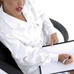 Female doctor writing prescription — Stock Photo