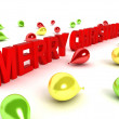 3d merry christmas text and balloons — Stock Photo