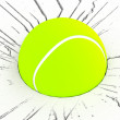 3d tennis ball on cracked surface — Stock Photo
