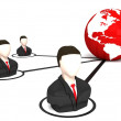3d businessmen connected to network — Stock Photo