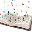 3d flying musical notes from books — Stock Photo