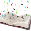Royalty-Free Stock Photo: 3d flying musical notes from books