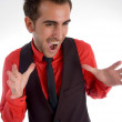 Yelling young handsome male — Stock Photo