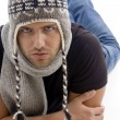 Young male lying and wearing woolen cap — Stock Photo #1656209