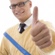Student in spectacles with thumbs up — Stock Photo #1657961