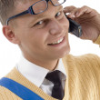 Smiling young student on phone — Stock Photo