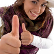 Gorgeous young female showing thumbs up — Stock Photo